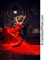 haute couture dress - Magnificent young woman in luxurious...