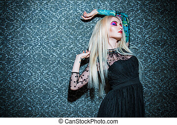 gothic style beauty - Extravagant attractive woman with...