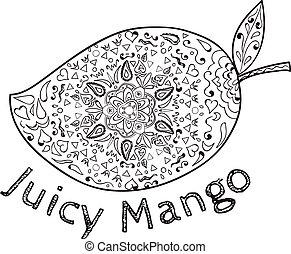 Juicy Mango Black and White Mandala - Mandala style...