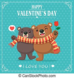 Vintage Valentines Day poster design with couple, bears