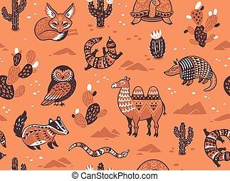 Seamless pattern with desert animals