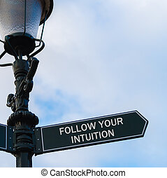 FOLLOW YOUR INTUITION directional sign on guidepost