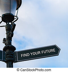 FIND YOUR FUTURE directional sign on guidepost