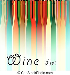Menu Card Wine Vector - Bottle illustration.Glasses alcohol...