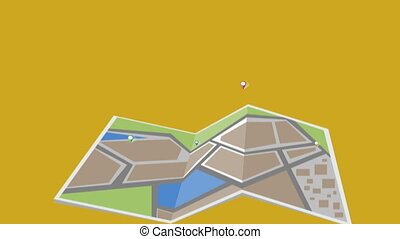City map animation - Digital Animation. A city map satellite...