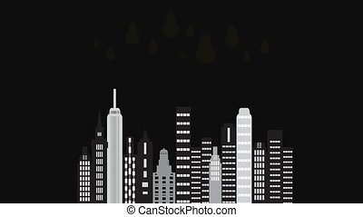 City time night. Animated cartoon of a city skyline.Twilight...