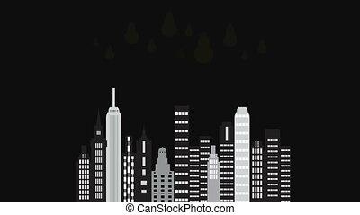 City time night. Animated cartoon of a city skyline.Twilight...