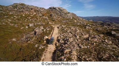 Aerial, Offroad With A Jeep At Cela, Portugal - Graded and...