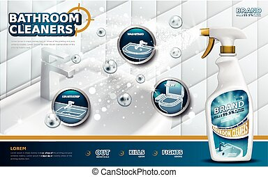 Bathroom cleaners ads, spray bottle with detergent liquid...