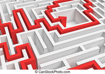 3d rendering of a white square maze in close up view with a...