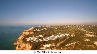 portugal, benagil, Luftaufnahmen, da, praia, corredoura,...