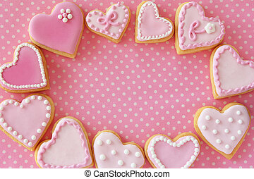Frame of Heart shaped cookies for valentines day