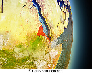 Eritrea in red from space - Model of Eritrea from Earth's...