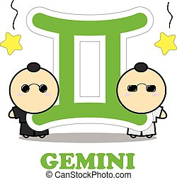 Gemini cartoon with Big Zodiac sign icon vector isolated on white background