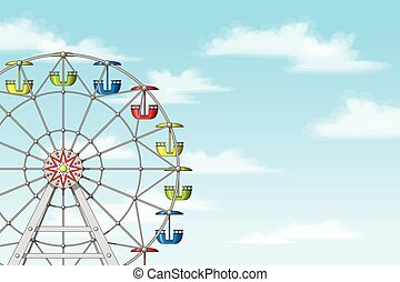 Illustration of a ferris wheel in front of blue sky