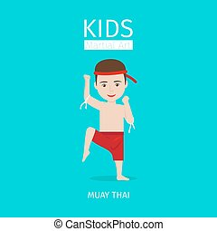 Kids martial art. Muay Thai boy - Kids martial art vector...