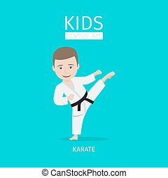 Kids martial art karate - Kids martial art vector...