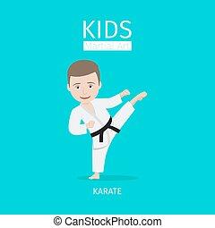 Kids martial art karate - Kids martial art vector...