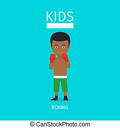 Kids martial art. Boxing boy icon - Kids martial art vector...