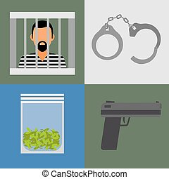 Gun, prison and drugs icons