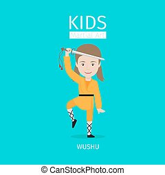 Kids martial arts. Wushu girl - Kids martial art vector...