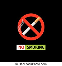 No Smoking sign - Vector forbidding sign on the black...