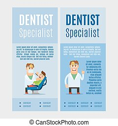 Dentist specialist vertical flyers, vector illustration on...