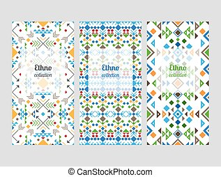 Ethno flyers with geometric patterns - Ethno flyers...