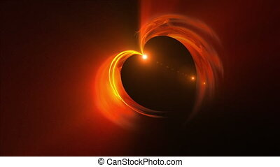 Fiery red heart with flare, the concept of love - Abstract...