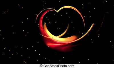 Fiery red dynamic heart, the concept of love