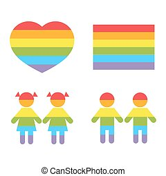 Gay family LGBT rights raibow icons white. Bright color...