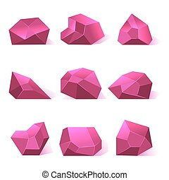 Pink vector crystals precious stones for game apps