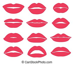 Woman lips expression vector icons set - Woman lips...