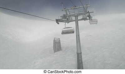 Chairlift for 4 persons in the clouds Rosa Khutor Alpine...