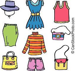 Clothes set for women of doodles