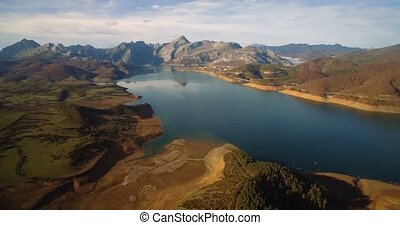 Aerial, Beautiful View On Embalse De Riano, Spain - Graded...
