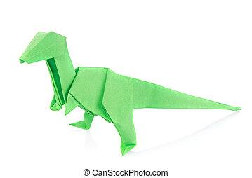 Velociraptor, Dinosaurio, verde,  origami