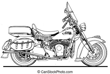 48 Indian Chief Side View - Black Line Illustration