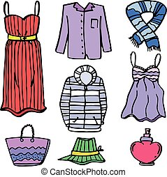 Clothes set object for women of doodles vector illustration