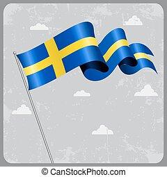 Swedish wavy flag. Vector illustration. - Swedish flag wavy...