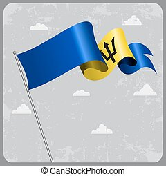 Barbados wavy flag. Vector illustration. - Barbados flag...