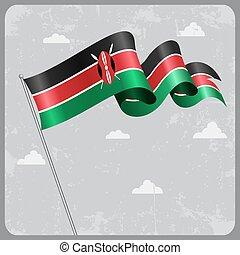 Kenyan wavy flag. Vector illustration. - Kenyan flag wavy...
