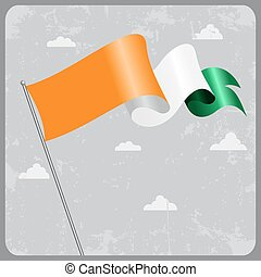 Cote d Ivoire wavy flag. Vector illustration.