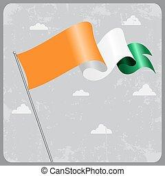 Cote d Ivoire wavy flag. Vector illustration. - Cote d...