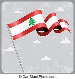 Lebanese wavy flag. Vector illustration. - Lebanese flag...