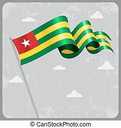 Togo wavy flag. Vector illustration. - Togo flag wavy...