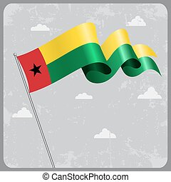 Guinea-Bissau wavy flag. Vector illustration. -...