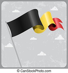Belgian wavy flag. Vector illustration. - Belgian flag wavy...