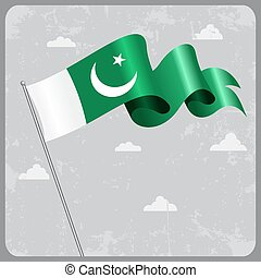Pakistani wavy flag. Vector illustration. - Pakistani flag...
