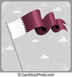 Qatari wavy flag. Vector illustration. - Qatari flag wavy...